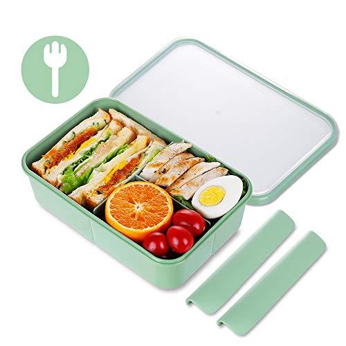 KIGI Bento Box,Lunch Box,Lunch Box,Kids Lunch Box,Adulti Bento Lunch Box con 3 scomparti 1150ml Contenitore per il pranzo con cucchiaio senza BPA (verde)