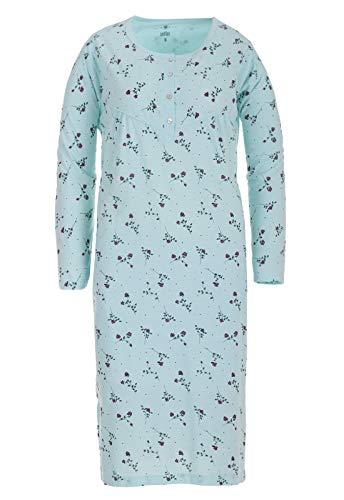 Zeitlos Nachthemd Langarm Damen Rose Borte Blumen Schlafshirt M-6XL, Farbe:blau, Größe:5XL