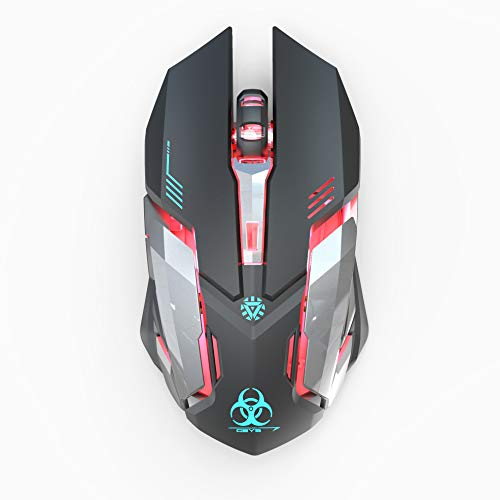 WFB Wireless Gaming Mouse, Silent Click Wireless Rechargeable Mouse with Colorful LED Lights and 3 Adjustable Levels Ergonomic Design for Laptop and Computer (Black)