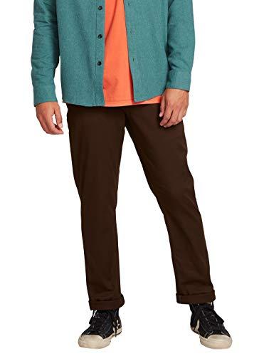 Volcom Men's Frickin Modern Fit Stretch Chino Pant, Dark Chocolate, 34W x 32L