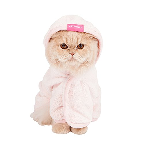 Catsmory] Microfiber Bath Gown for Small Dog and Cat Bath Robe Towel, Quick Drying, Microfiber Towel (Medium)