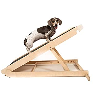"""USA Made Adjustable Pet Ramp for All Dogs and Cats – for Couch or Bed with Paw Traction Mat – 40″ Long and Adjustable from 14"""" to 24"""" – Rated for 200LBS – Great for Small and Older Animals"""