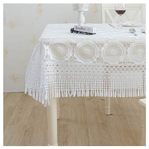 SFZD Encajes Mantel Crochet Rectangular Manteles,Blanco Calado Tela De Mesa Decoración Mantel Impreso Cubierta De Mesa Lavable,Muchos Tamaños De Color Blanco 130x180cm(51x71in)