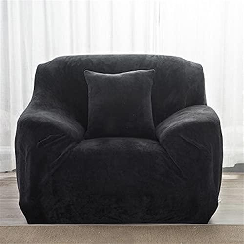 LIWENFU Sofa-Cover für Ecksofa-Cover Elastic L-Form Moderne Sofa-Cover für Wohnzimmer Sessel-Cover-Plüsch-Sofa-Cover 1/2/3/4-Sitze (Color : Black, Specification : 1 Seater 90 140cm)
