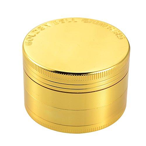 Golden Bell Herb Grinder 2″ Spice Herb Grinder 4 Layer Zinc Alloy Grinder with Sharp Grinding Teeth & Pollen Catcher Scraper – Gold