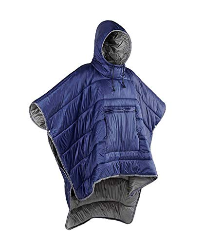 YPSMLYY Portable Camping Quilt Wear-resistant Sleeping Bag, Men And Women Wear Cloak, Hooded Waterproof Winter Shawl, Outdoor Warm Camping Sleeping Bag,Blue