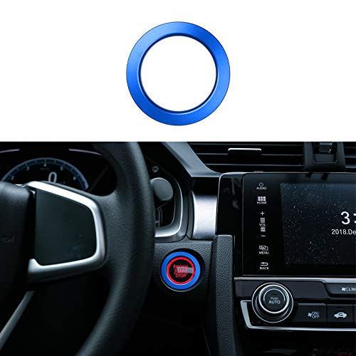 CKE Civic Car Engine Start Stop Push Button Cover Trim Ignition Key Ring For 10th Gen Honda Civic 2016 2017 2018 2019 2020 - Blue