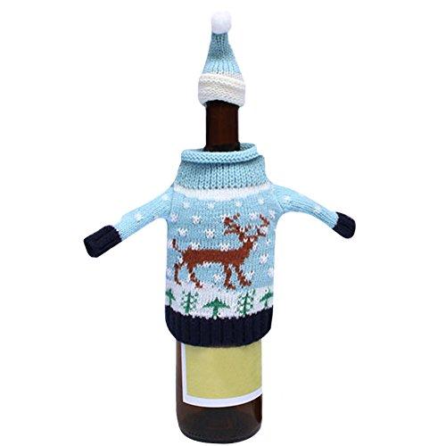 Petalum Weihnachten Weinflaschen Pullover Mütze Abdeckung Rotwein Sekt Tasche Flaschenshirt Geschenkverpackung Xmas Wein Deko (Design B)