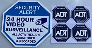 ADT Window Stickers (4) & Video Surveillance Home Security Sign (1)