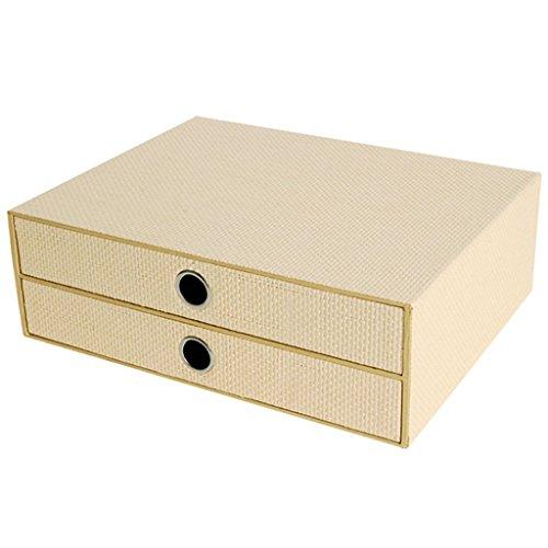 Met Love Office Bestand Kasten Lade Type 2-Layer Desktop Japanse Stijl Vintage Multilayer Boekenkast Geweven Boek Opbergdoos Plank Stapelbaar Abrikoos