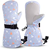 Winter Waterproof Kids Ski Warm Gloves Baby Boy Snow Glove for Toddler Infant Girl Cold Weather Windproof Mittens (Grey Love, M(2-4T))