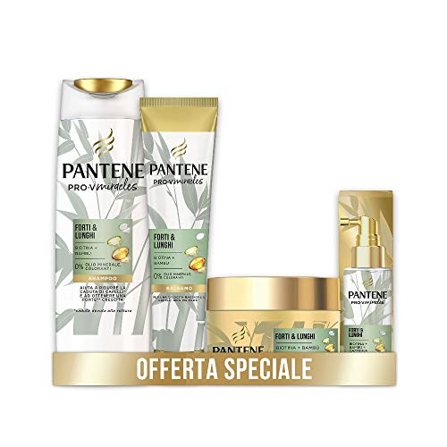 Pantene Pro-V Miracles Forti&Lunghi, Set con Shampoo Anticaduta 225 ml, Balsamo Capelli 160ml, Maschera Capelli 160ml, Siero capelli 100ml, Idea Regalo S. Valentino
