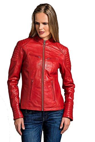 Urban Leather Damen Coole kurze Biker Damen Lederjacke LB01 UR-145, Rot, M (Herstellergröße: M)