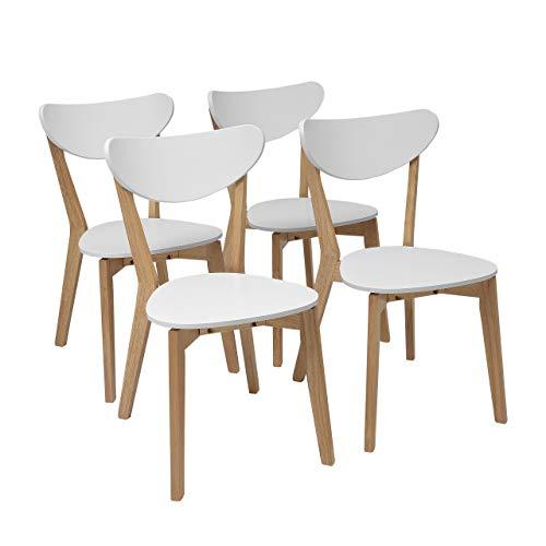 Homely - Pack de 4 sillas de Comedor de diseño nórdico MELAKA Madera de Roble y Lacado Blanco Mate