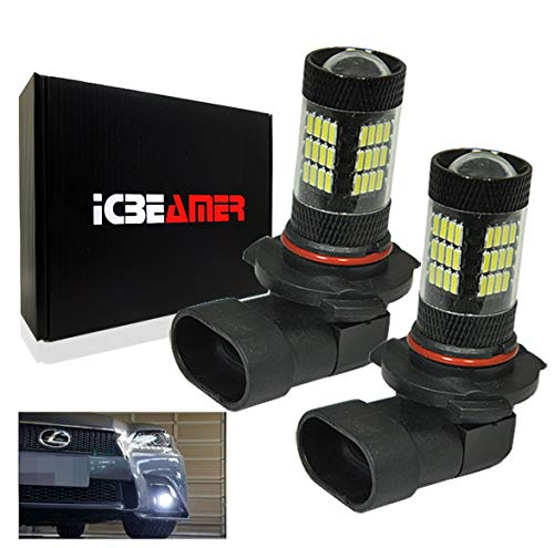 ICBEAMER 9005 HB3 Canbus 57 LED Fit Day time Running Light DRL Replace Halogen Light Bulbs Lamps [Super White] 2 pcs