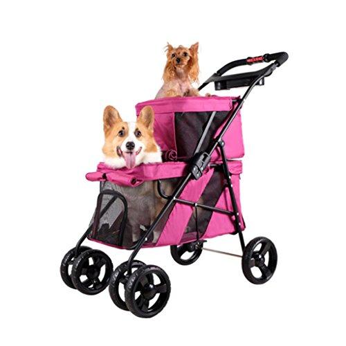 ZH1 Haustier Tasche Doppellagig, Hundekarren, Katzenwagen, Haustierwagen, Falten, Kinderauto, Haustierwagen (Farbe : Rosa)