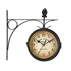 Dyna-Living Double Sided Wall Clock Vintage Retro Wall Clock 360 Degree Rotate Classic Wall Clock for Indoor Outdoor Living Room Bedroom or Garden Decor