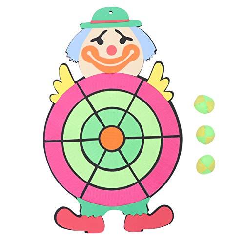 PRETYZOOM Kinder Dartscheibe Klettballspiel Fangballspiel Ballspiel Set mit 3 Bälle Dartboard für Kinder Outdoor Sport Spielzeug Gartenspielzeug(Clown)