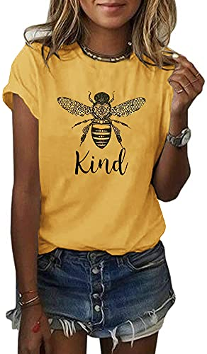 Koodred Women Summer Casual Bee Graphic Be Kind Letter Print Short Sleeve Crew Neck T Shirts Tee Tops Yellow