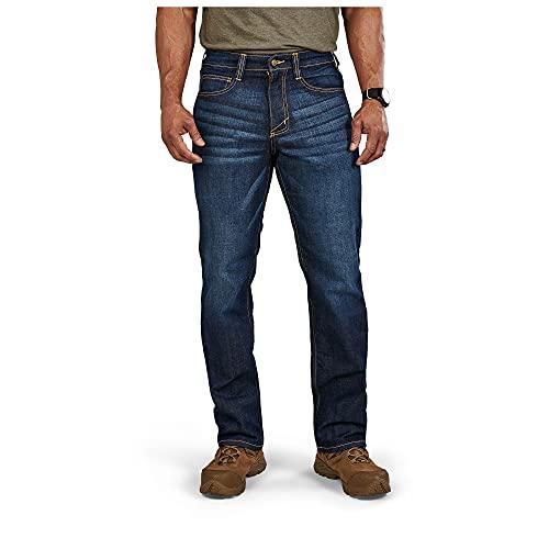 5.11 Tactical Men' Defender - Flex Jean - Straight, Dark Wash Indigo, 40x32