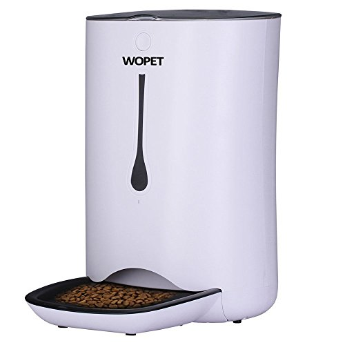 WOPET Automatic Pet Feeder Food Dispenser for Cats and Dogs–Features: Distribution Alarms, Portion Control, Voice Recorder, & Programmable Timer for up to 4 Meals per Day