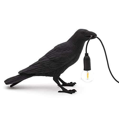 Seletti 'Bird Lamp Black & White Waiting, Playing, Looking Bird Lamp, Schwarz, Waiting Outdoor