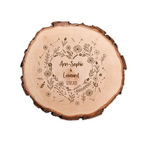 Casa Vivente Baumscheibe mit Blumenherz und Personalisierter Gravur, 2 Namen 1 Datum, Deko-Artikel