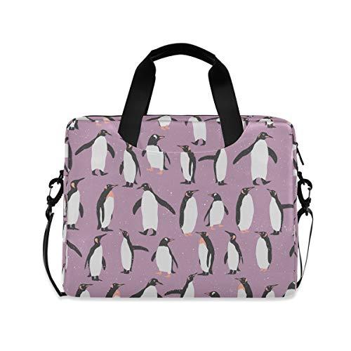 Cute Penguins Laptop Case Bags Purple Animal 16 Inch Computer Shoulder Bags Messenger Carring Briefcase Tablet Notebook Sleeve Business Travel Handbag for Men Women Office Work