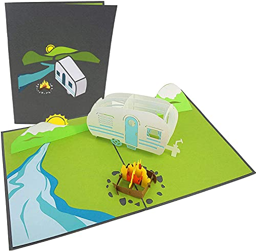 PopLife Camping Trip 3D Father's Day Pop Up Card - Happy Anniversary, Retirement Gift, Valentine's Day card for Him, Birthday - Mountain Card, RV Traveler - for Husband, Son, Father,