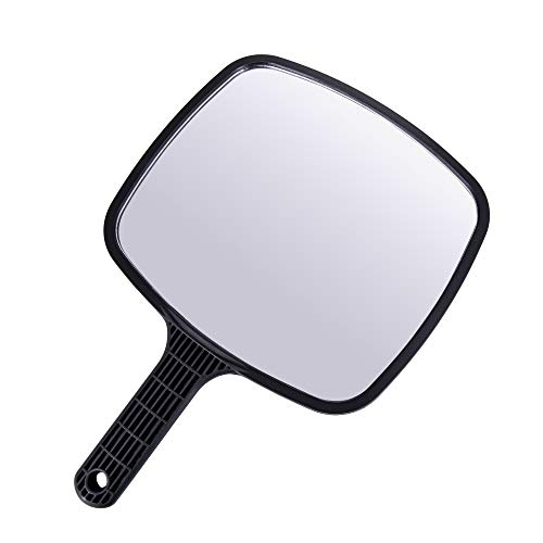 Ponik's Espejo de peluquería profesional portátil negro con mango para peluquería, 24 cm, rectangular
