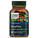 Gaia Herbs, SleepThru, Sleep Support, Non Habit Forming Herbal Sleep Aid, Passionflower, Ashwagandha, Jujube, Organic, Melatonin Free, Vegan Liquid Capsules, 60 Count