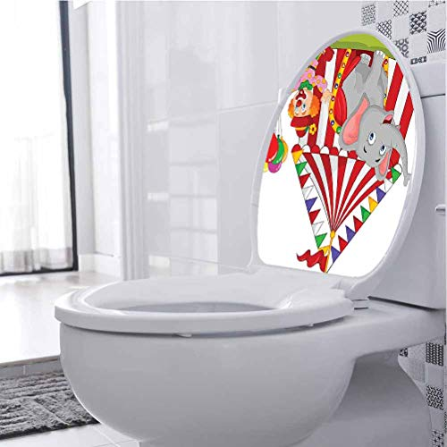 Homesonne Removable Toilet Seat Sticker Cute Elephant Standing Clown Circus Tent En ment Funfair 3D Wall Stickers Self Adhesive Waterproof and Removable, 30 x 36 cm