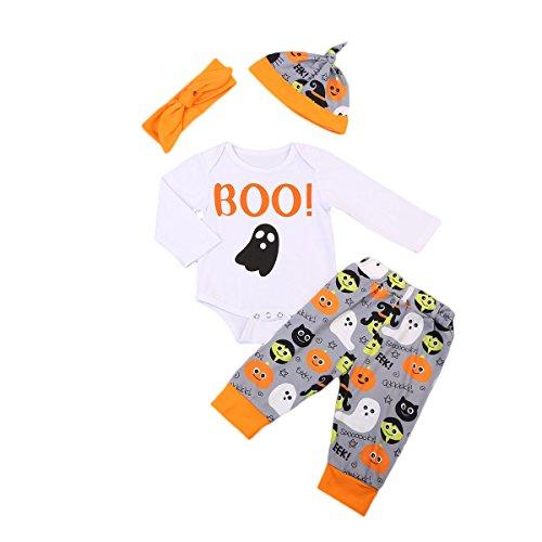 Pasgeboren Baby Jongen Meisje Leuke Lange Mouw Halloween Wit Jumpsuit + Spook Broek + Ghost Hoed + Hoofdband Herfst Winter Set