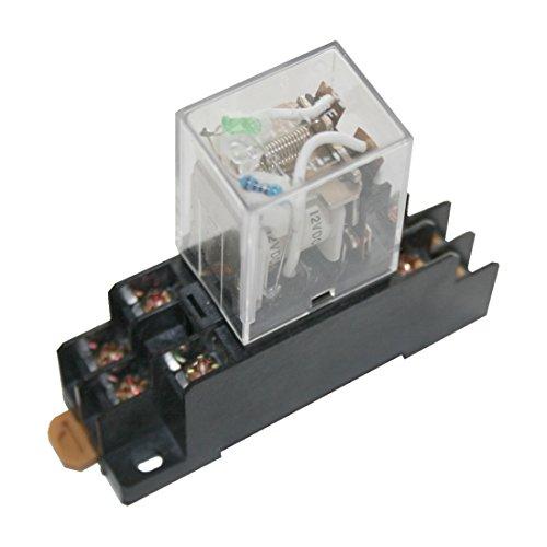 Hutschienenrelais Hutschienensockel Relais mit grüner LED 2 Wechsler 12V (0004)