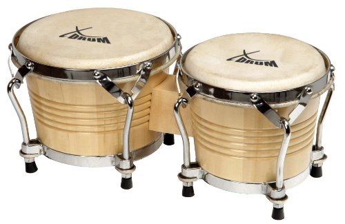 XDrum Bongo Pro (Holzbongo, 17cm (6 3/4 Zoll) Macho, 20cm (8 Zoll) Hembra, Naturfelle, professionelles Stimmsystem, Natur)