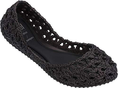 Melissa - Unisex-Child Campana Crochet Inf. Flats, Size: 3 M US Little Kid, Color: Black Iridescent