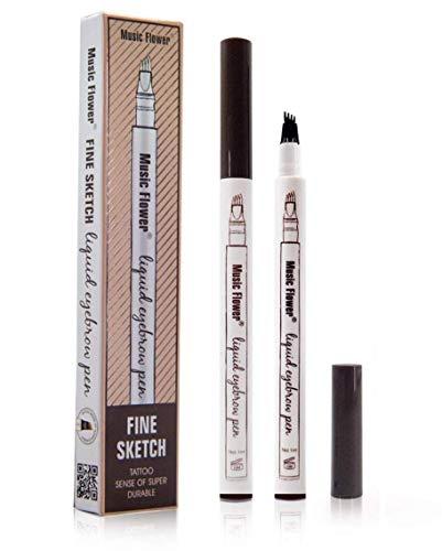Tattoo Eyebrow Pen con cuatro puntas duraderas Pencil puntas de tenedor Impermeable y duradero Lápiz de cejas Ink Sketch Eyebrow para Maquillaje (02# brown)