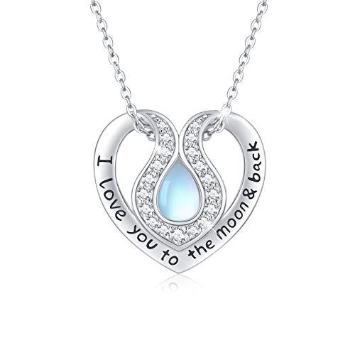 Regnbåge månsten halsband 925 sterling silver hjärta hänge I Love You to the Moon and Back halsband månsten smycken för kvinnor