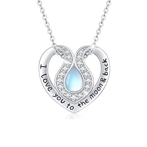 Collar de Piedra Lunar de plata de ley 925 Colgante de Corazón con texto 'I Love You to the Moon and Back' Collar de Espalda Joyas de Piedra Lunar para Mujer