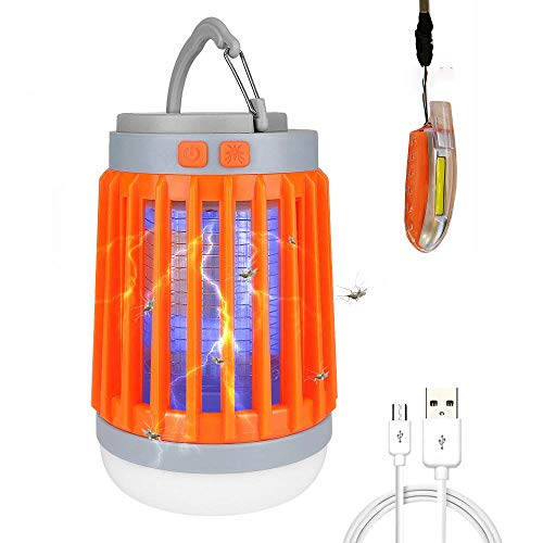 LED Camping Lantern Whistle Light Bug Zapper Portable Mosquito Killer Flashlight 3 in 1 Waterproof USB Rechargeable Hook Light for Home Camping Hiking Fishing Emergency