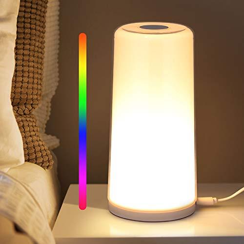 Albrillo Lámpara de mesa, luz nocturna con Control Tactil, Lampara Mesilla de Noche con RGB Colores y Luz Blanca Cálida Regulable, Lampara de Mesilla para Niños, Dormitorios y Salón