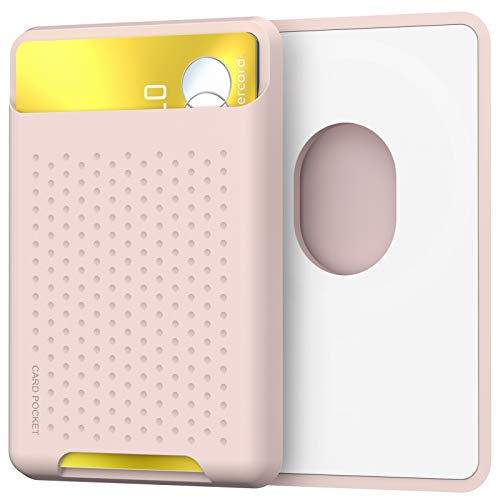 AhaStyle Card Wallet Silicone Card Holder with Mag-Safe Strong Magnets Compatible with iPhone 12/Pro/Max/Mini (PINK)