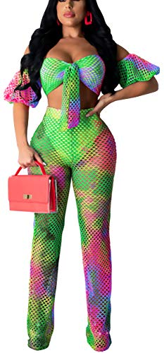 Women's Sexy Lantern Short Sleeve Two Piece Cover Ups Elegant Off Shoulder Bandage Crop Top High Waist Straight Long Pants Colorful Bathing Suits with Cheeky Bottom Sets