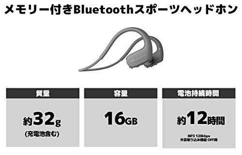 ソニーヘッドホン一体型ウォークマンWシリーズNW-WS623:4GBスポーツ用MP3プレーヤーBluetooth対応防水/海水/防塵/耐寒熱性能搭載外音取込み機能搭載ブラックNW-WS623B