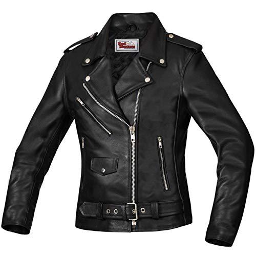 German Wear Damen Lederjacke Motorradjacke Rockerjacke Chopper Brando Jacke, 2XL