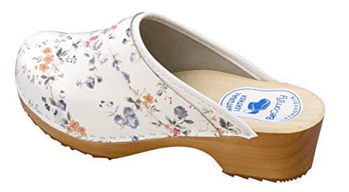 BeComfy - Zuecos de Madera con Cuero para Mujeres - Zapatos para el Trabajo - Suela Reforzada con una Capa de Goma Elástica - Blanco, Negro, Azul Marino, Flores (35 EU, Flores Coloridas)