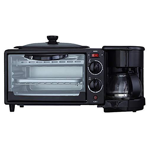 LITING 3 in 1 broodrooster multifunctionele ontbijtmachine huishouden Drie in één koffiepofen mini elektrische oven omelet handelsgeschenk 800 W - zwart [energieklasse A]