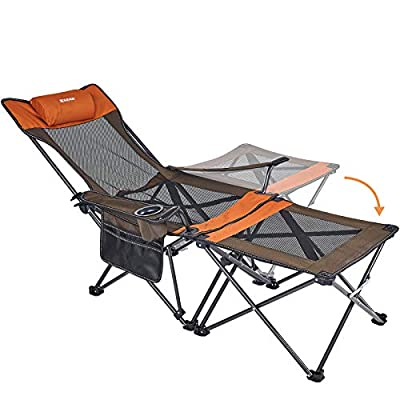 XGEAR 2 in 1 Folding Camping Chair Portable Lounge Chair with Detachable Table for Camping Fishing Beach and Picnics (1Orange/Grey)