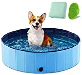 YASITY Dog Pool, Foldable Pet Swimming Pool with Bath Brush & Bath Towel, Outdoor Bathing Tub Kiddie Pool with Protective Lining, PVC Collapsible Pool for Small Dogs, Cats and Kids (S:32''X8'')