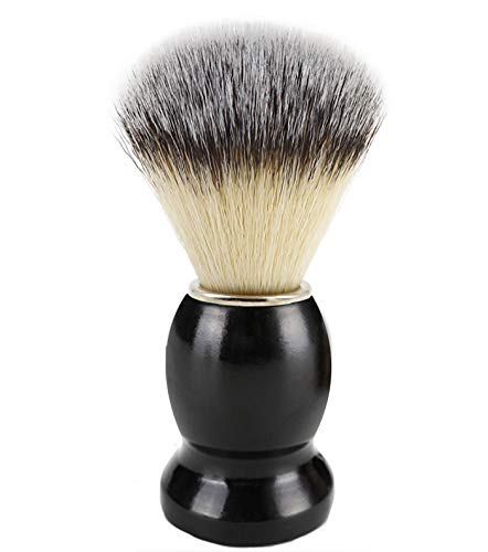 Bassion Hand Crafted Shaving Brush with Hard Wood Handle, Men's Luxury Professional Hair Salon Tool Gifts for Men-Black
